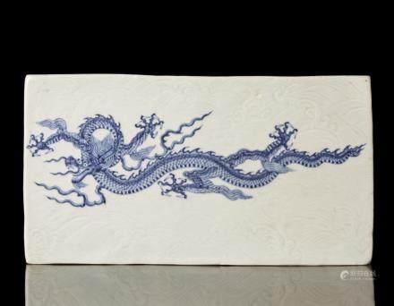 中國 十九世紀 青花龍圖瓷板