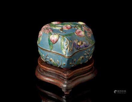 民國 景泰藍桃形蓋盒