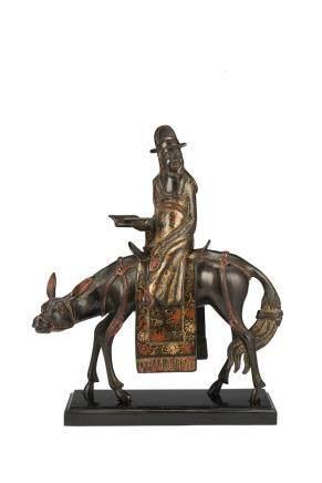 清 康熙 鎏金漆銅李太薄乘馬像