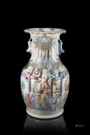 中國 二十世紀 彩繪僧人圖瓷瓶