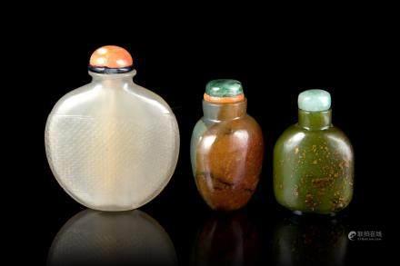 中國 二十世紀 石雕鼻菸壺 三件