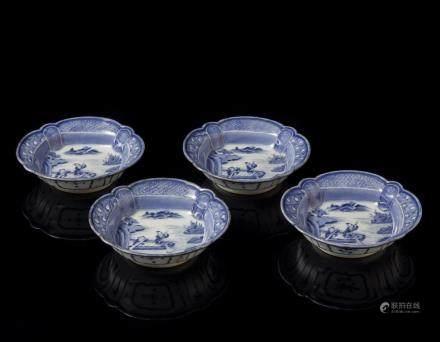 中國 二十世紀 青花漁夫圖碗 四件