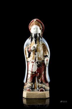 中國 十九世紀 彩繪陶瓷人物雕像