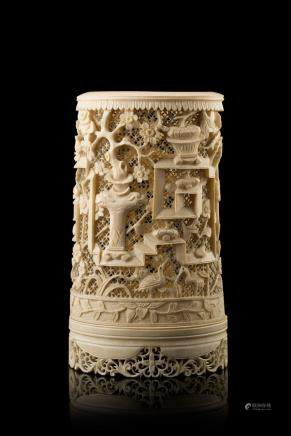中國 二十世紀初 象牙鏤雕筆筒