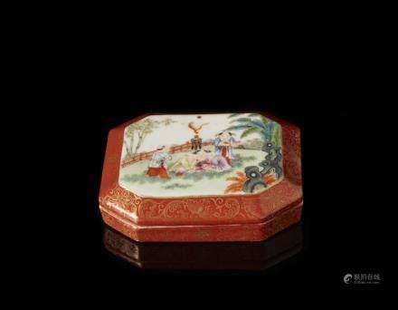 中國 十九世紀 乾隆仿款 紅地彩繪描金童子圖八角盒