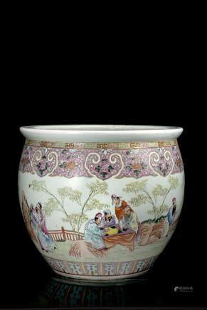 中國 二十世紀 粉彩人物圖瓷缸
