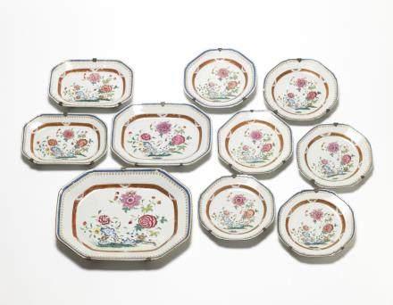 中國 十八世紀下半葉 粉彩八角盤 十件