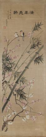 中國 十九世紀 四季花畫 四件 設色絹本