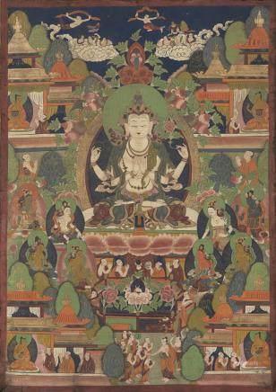 西藏/中國 二十世紀 菩薩唐卡 設色布本
