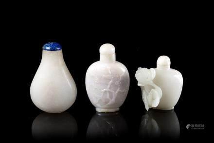 中國 二十世紀 翠玉及石雕鼻菸壺 三件