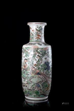 中國 十九世紀 五彩花鳥紋棒槌瓶