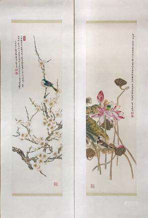 REN ZHONG     A SET OF BLOSSOMS&BIRD PAINTING