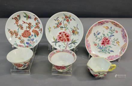 3 sorbets et 3 soucoupes Famille - rose décorées de fleurs, période Yongzheng [...]