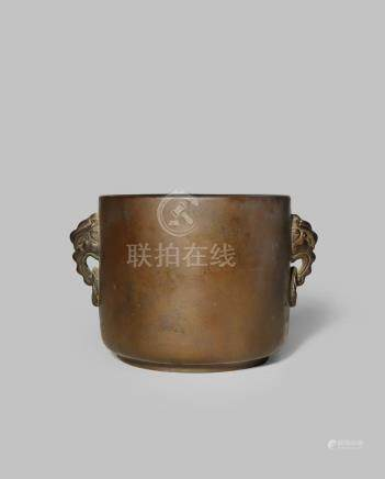 A CHINESE BRONZE CYLINDRICAL INCENSE BURNER