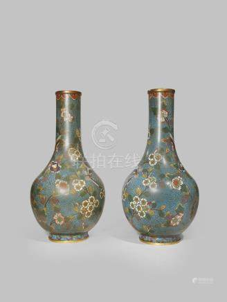 A PAIR OF CHINESE CLOISONNE 'BUTTERFLY' VASES