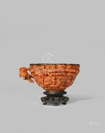 A RARE CHINESE IMPERIAL CORAL CUP