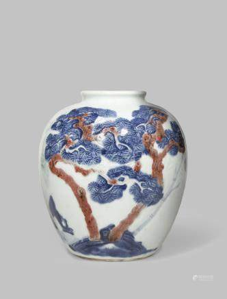 A CHINESE UNDERGLAZE BLUE AND RED 'THREE FRIENDS OF WINTER' VASE
