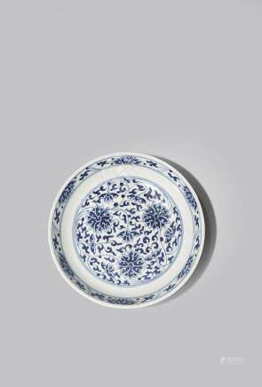 A CHINESE BLUE AND WHITE 'LOTUS' DISH
