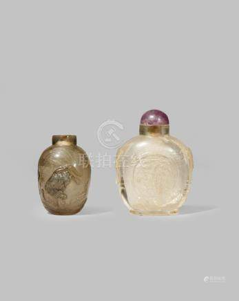 TWO CHINESE ROCK CRYSTAL SNUFF BOTTLES