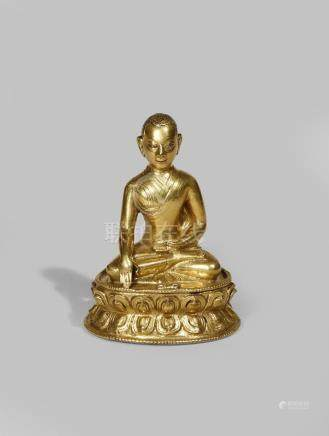 A TIBETAN GILT BRONZE FIGURE OF THE THIRD DALAI LAMA