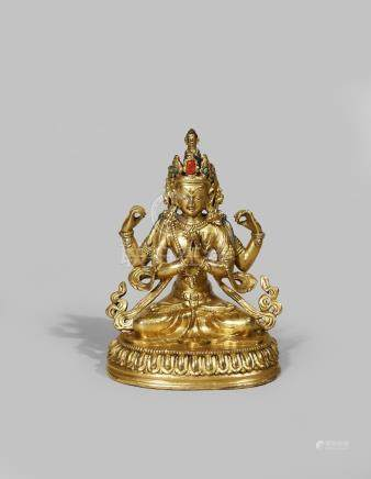 A TIBETAN GILT BRONZE FIGURE OF SHADAKSHARI AVALOKITESHVARA