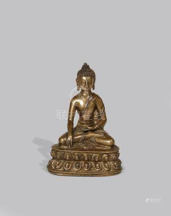 A TIBETAN COPPER INLAID BRONZE FIGURE OF BUDDHA SAKYAMUNI