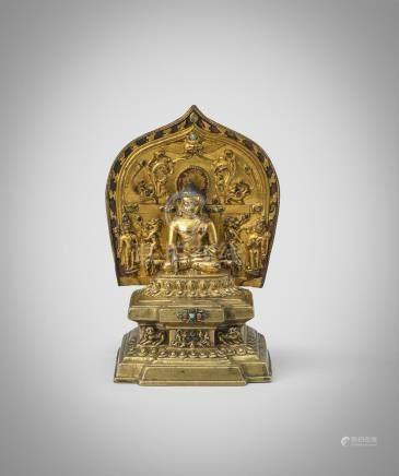 A RARE TIBETAN GILT BRONZE FIGURE OF BUDDHA SAKYAMUNI