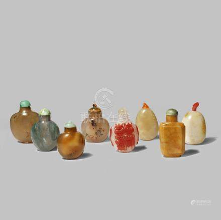 EIGHT CHINESE SNUFF BOTTLES