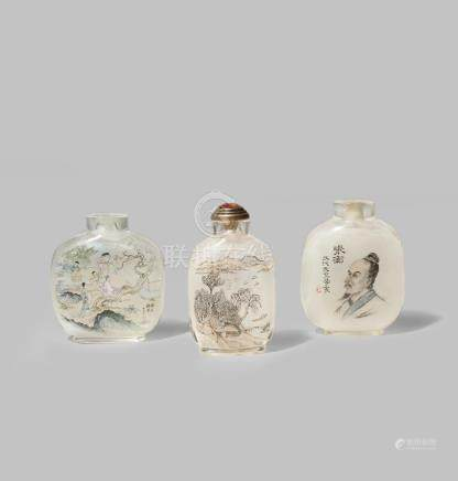 THREE CHINESE INTERIOR PAINTED SNUFF BOTTLES
