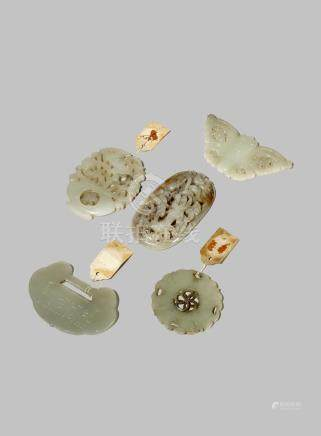 FIVE CHINESE CELADON JADE PLAQUES
