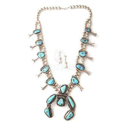 Native American Turquoise, Silver, Squash Blossom