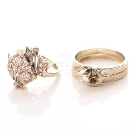 Collection of Two Diamond, 14k White Gold, Rings.