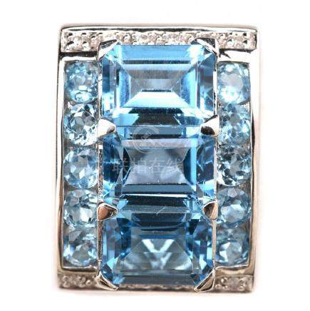 Blue Topaz, Diamond, 14k White Gold Pendant.