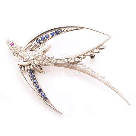Diamond, Sapphire, Ruby, 18k White Gold Swallow Brooch.