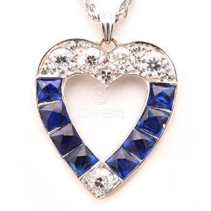 Diamond, Synthetic Sapphire, White Gold Heart Pendant