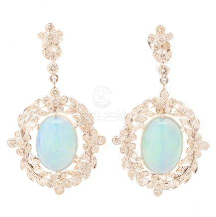 Pair of Opal, Diamond, 18k White Gold Earrings.