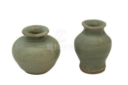 TWO YUAN/ MING DYNASTY SMALL LONGQUANG CÉLADON-GLAZED VASES<br><br><br><br><br><br><br>
