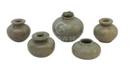 FIVE YUAN/ MING DYNASTY SMALL CÉLADON-GLAZED JARLETS<br>14th-15th century<br><br><br><br><br><br>