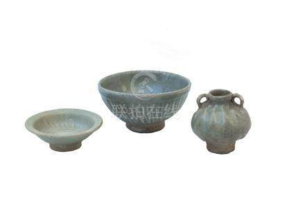 THREE SAWANKHALOK CÉLADON-GLAZED ITEMS<br>14th-15th century<br><br><br><br>