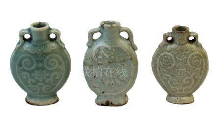 THREE QINGBAI MINIATURE BOTTLES<br>