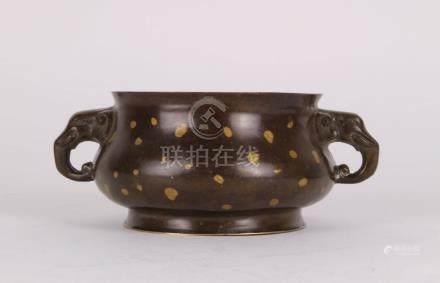 CHINESE BRONZE SPLASH GOLD CENSER