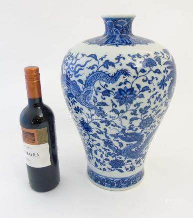 A Chinese blue and white meiping dragon vase,