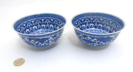 A pair of Chinese Blue and White bowls decorated with band of Morning glory / Convolvulus flower