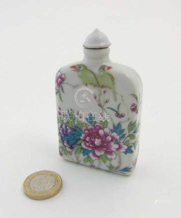 An Oriental porcelain Famille Rose rectangular snuff bottle,