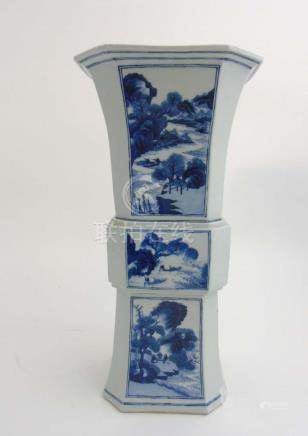 A large Chinese blue and white Gu vase of square form having canted corners ,