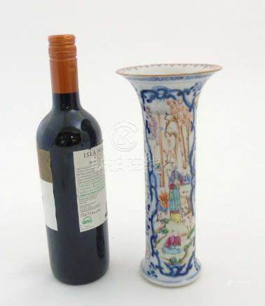 A Chinese Famille Rose vase of tall cylindrical form with flared rim,