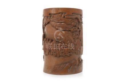 20TH CENTURY CHINESE BAMBOO BRUSH POT