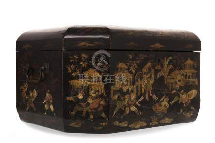 19TH CENTURY CHINESE LAQUERED CASKET