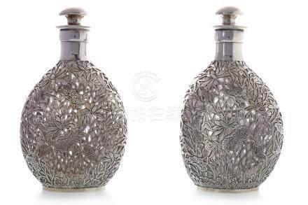 PAIR OF ASIAN SILVER OVERLAID 'DIMPLE' D