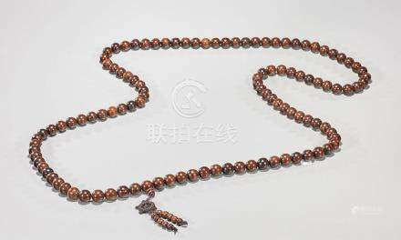 Large Chinese Wood Bead Necklace